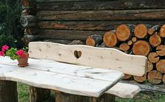 Wooden bench with engraved heart Stock Photos