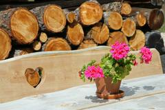 wooden bench with engraved heart and flower vase near the chalet - stock photo