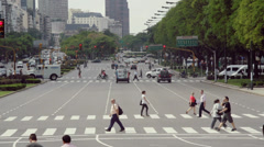 Street in Buenos Aires - People crossing Stock Footage