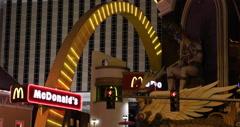 Ultra HD 4K MCDonald's Restaurant Welcome Neon Sign Nightlife Las Vegas Strip Stock Footage