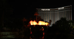 Ultra HD 4K Las Vegas Iconic Volcano at The Mirage Hotel, Fire Water Show Stock Footage
