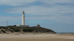 Lighthouse beach, andalusia spain Stock Footage