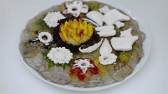 Meat in aspic with vegetables and mayonnaise Stock Footage