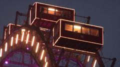 Closeup of the Riesenrad - giant Ferris wheel in Vienna Prater amusement park. Stock Footage