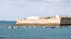 Military fort in cadiz, andalusia spain Stock Footage