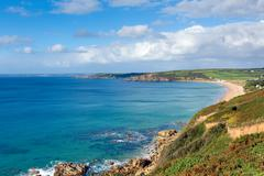 Praa Sands Cornwall England view west towards Penzance and Mousehole - stock photo