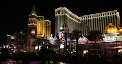 Ultra HD 4K UHD Night Lights Las Vegas Strip Venetian Hotel Crowded Car Traffic Stock Footage
