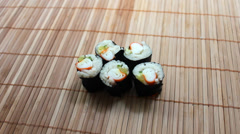 Crab Maki Sushi Stock Footage