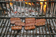 Pork sausages cooked on the embers Stock Photos