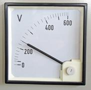 voltmeter for measuring the voltage of the electrical energy - stock photo