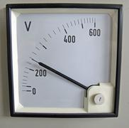 voltmeter  for measurement of electrical power voltage - stock photo