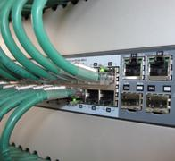 telecommunication cables for computer certificates on the  jacks - stock photo