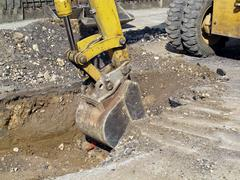 scraper to work the whole of a roadworks during excavation - stock photo