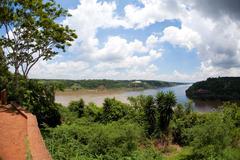 three boundaries of argentina. paraguay and brazil - stock photo