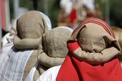group of costaleros during a procession of holy week, andalucia, spain - stock photo