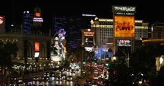 Ultra HD 4K Road Traffic Jam Crowded Las Vegas Strip Venetian Hotel, City Night - stock footage