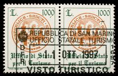 Stock Photo of san marino customs stamp