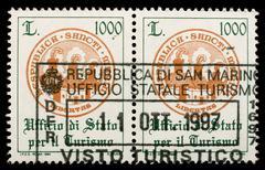 san marino customs stamp - stock photo