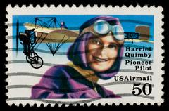 us airmail stamp commemorating female pioneer pilot harriet quimby - stock photo