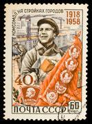 ussr vintage postage stamp - stock photo