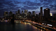 Stock Video Footage of New York City FDR Drive Manhattan Bridge Timelapse at night