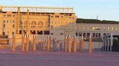 Spain Catalonia Barcelona Montjuic Olympic stadium Telefonica tower Stock Footage