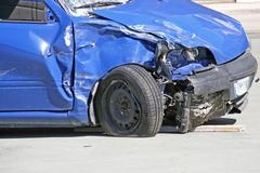 wheel of a car destroyed in a traffic accident - stock photo
