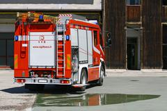 Italian fire truck fire after turning off a fire Stock Photos