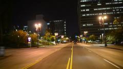 Driving POV LA Downtown 17 Night USA Stock Footage