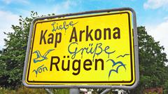 kap arkona, sign with greetings - stock photo