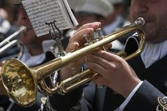 brass band musicians, palm sunday, linares, jaen province,  spain - stock photo