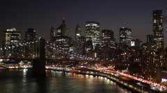 New York City FDR Drive Manhattan Bridge Night Timelapse Stock Footage