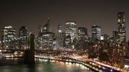 Stock Video Footage of New York City FDR Drive Manhattan Bridge Night Timelapse