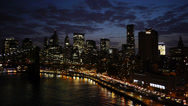 Stock Video Footage of New York City FDR Drive Manhattan Bridge at Dusk Timelapse