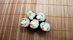 Taking Crab Maki Sushi Stock Footage