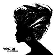 Woman Hair style Silhouette Stock Illustration