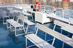Passenger's recreational boat deck Stock Photos