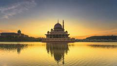 Night to Day Time-lapse : An unexpected morning at the Putra Mosque - Cut 2 Stock Footage