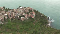 Aerial view of Cinque Terre Stock Footage