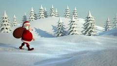 Stock Video Footage of santa claus walking through snowy landscape