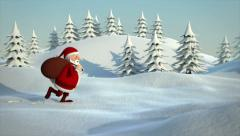santa claus running through snowy landscape - stock footage