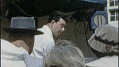 BUY NOW! Salesman Sells Hawker Crowd 1960s Vintage Film Home Movie 7327 - stock footage