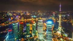 Time lapse of aerial night illuminated cityscape, Shanghai China Stock Footage