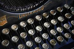 keyboard of a vintage typewriter underwood in close up - stock photo