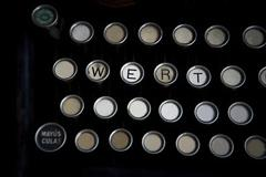 worn keyboard of machine just write some letters are - stock photo