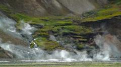 Landmannalaugar geothermal springs Stock Footage