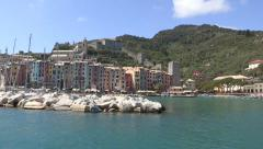 Portovenere seen from a boat Stock Footage