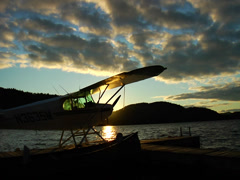 Seaplane docked at sunset 03 Stock Footage