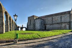 old aqueduct & santa clara's monastery - stock photo