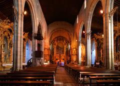 inside matriz church of vila do conde - stock photo